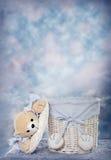Cesta del oso del bebé Imagen de archivo