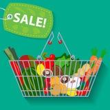 Cesta del supermercado de vector de la venta de las verduras Imagen de archivo libre de regalías