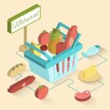 Cesta del supermercado isométrica Imagen de archivo libre de regalías