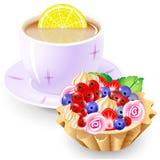 Cesta del té y de fruta Foto de archivo libre de regalías