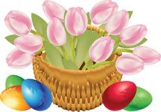 Cesta del tulipán Foto de archivo libre de regalías
