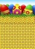 Cesta del vector por completo de huevos de Pascua Fotografía de archivo