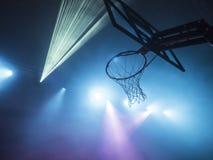 Cesta do basquetebol com luzes do disco Imagem de Stock Royalty Free