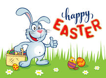 A cesta do coelhinho da Páscoa eggs a rotulação Imagens de Stock Royalty Free