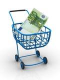 Cesta do consumidor com euro Imagens de Stock Royalty Free