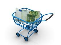 Cesta do consumidor com euro. 3d Imagem de Stock Royalty Free