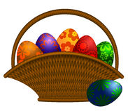 A cesta do dia de Easter Eggs a ilustração Imagem de Stock Royalty Free