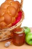 Cesta do pão, do mel e do App Fotografia de Stock