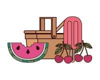 Cesta do piquenique com parcela de melancia ilustração do vetor