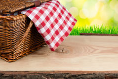 A cesta do piquenique na tabela com verificado veste-se imagens de stock
