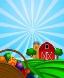 Cesta dos ovos de Easter com o celeiro vermelho no pasto verde Foto de Stock Royalty Free