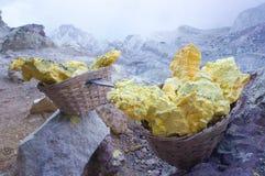 Cesta dos portadores do enxofre em Kawah Ijen Foto de Stock