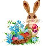 Cesta e coelho de Easter Imagens de Stock Royalty Free