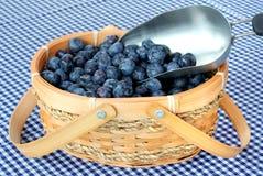 Cesta e colher das uvas-do-monte Fotografia de Stock Royalty Free