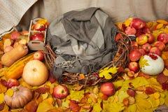Cesta en hojas de otoño con las manzanas y la calabaza, decoración de la temporada de otoño Fotografía de archivo libre de regalías