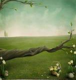 Cesta esquecida, fundo para os cartões de Easter Imagens de Stock Royalty Free