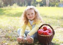 Cesta feliz da criança e do outono com as maçãs que sentam-se fora Imagem de Stock