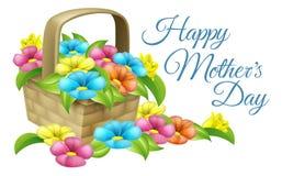 Cesta feliz de la flor del día de madres Fotografía de archivo libre de regalías