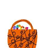 Cesta grande, marrom com ovos da páscoa ilustração stock