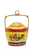 Cesta Handmade do rattan Foto de Stock Royalty Free