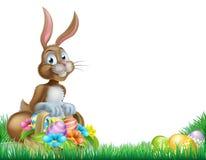 Cesta Hunt Bunny del huevo de Pascua de la historieta Imágenes de archivo libres de regalías