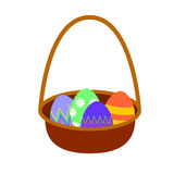 Cesta isolada dos ovos da páscoa no branco Imagens de Stock Royalty Free