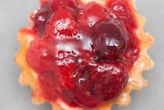 Cesta o Tartlet de los pasteles del postre con Strawberris con las bayas en Gray Background Isolated Cierre para arriba Postre de Fotos de archivo