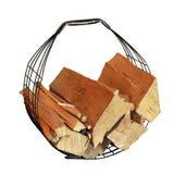 Cesta para la madera del fuego Fotografía de archivo