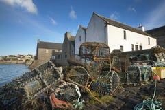 Cesta para los cangrejos en St Margareth Hope orkney escocia Imagen de archivo