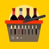 Cesta para produtos com as garrafas do vinho no estilo liso Vetor mim Fotos de Stock