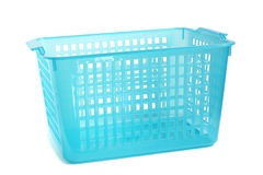 Cesta plástica azul fotografia de stock royalty free