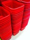 Cesta plástica vermelha Fotografia de Stock Royalty Free