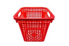 Cesta plástica vermelha Imagens de Stock Royalty Free