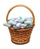 Cesta que desborda con el dinero Imágenes de archivo libres de regalías