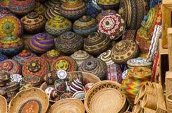 Cesta tradicional colorida do artesanato Imagens de Stock Royalty Free