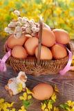 Cesta trenzada rural con los huevos para pascua Imagenes de archivo