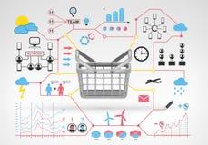 Cesta vazia de compra com ícones infographic e gráficos do vermelho azul ao redor Fotos de Stock Royalty Free