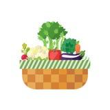 Cesta vegetal (rábano, coliflor, apio, pimienta, perejil, zanahoria, berenjena) Diseño plano moderno Fotografía de archivo