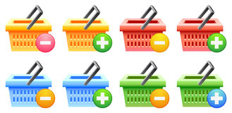 Cesta y botón de compras Imagen de archivo