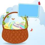 Cesta y escritura de la etiqueta de Pascua Fotos de archivo