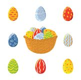 Cesta y sistema de los huevos de Pascua, vector Fotografía de archivo libre de regalías