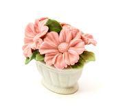 Cestas da estatueta da porcelana das flores para a decoração dos interiores foto de stock