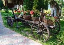 Cestas de flores en el carro campesino antiguo en un día soleado Fotos de archivo