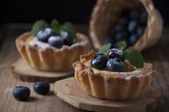 Cestas de la torta dulce con el berrie de la crema, del albaricoque y del arándano de la cuajada imágenes de archivo libres de regalías