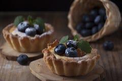 Cestas de la torta dulce con el berrie de la crema, del albaricoque y del arándano de la cuajada fotografía de archivo