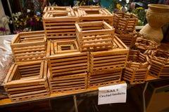 Cestas de madera de la orquídea para la venta Imagen de archivo libre de regalías