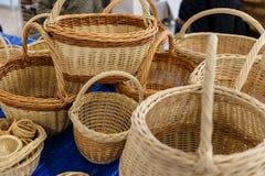 cestas de mimbre amarillas Foto de archivo libre de regalías