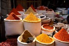 Cestas de pós indianos essenciais crus frescos das especiarias, do pimentão, do coentro e da cúrcuma em um mercado da especiaria imagens de stock