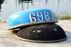 Cestas de pesca vietnamianas com números foto de stock royalty free