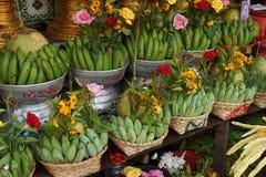 Cestas de plátanos y de cocos verdes Imagen de archivo libre de regalías